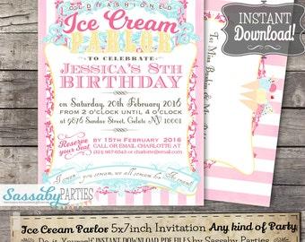 Ice Cream Parlor Invitation - INSTANT DOWNLOAD -  Vintage Gelato, Icecream Partailly Editable & Printable Birthday Party, Baby Shower Invite