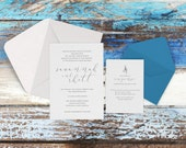 Charleston Wedding Invitations - Beach Wedding - Minimalist Invitations - Calligraphy - Custom Invitations - Charleston Suite - DEPOSIT