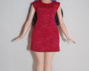 Brick Red Dress A4B122 Curvy Barbie fashionista fashion doll clothes