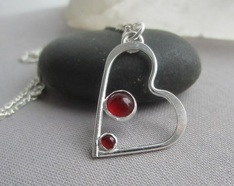 Heart Necklace/ Sterling Silver Heart Pendant/ Carnelian Pendant/ Heart Necklace with Carmelian/ Valentine's Day Necklace.