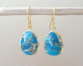 Turquoise Drop Earrings - Drop Dangle Earrings - Gold Earrings