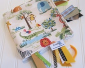 Sensory Ribbon Blanket,Lovey,Tag Blanket/Zoo in Cream/Organic Cotton Fleece