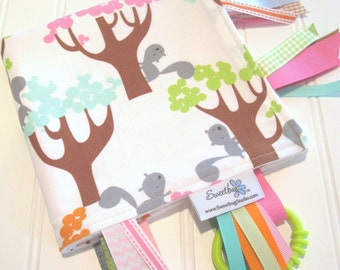 Sensory Ribbon Blanket,Lovey,Tag Blanket/Squirrels and Trees in Sorbet/Organic Cotton Fleece
