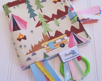 Sensory Ribbon Blanket,Lovey,Tag Blanket/Camping Allover in Cream/Organic Cotton Fleece