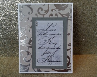 Handcrafted, Handmade, Love Happiness Card, Vday, Wedding Card, Valentine's Day Card, Anniversary Card, Bridal Shower, Love card