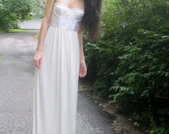 adore - ivory bamboo paired with vintage 1970's lace corset strapless maxi dress 34B small - boho chic hippie festival wedding
