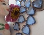 10 Blue Vintage Crystal Hearts