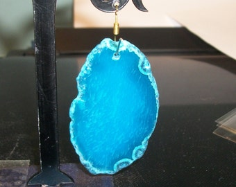 "Blue Agate slab pendant or focal bead- approximately 55 x 35mm-(2 1/4"" x 1 1/4"") -3157-1 piece"