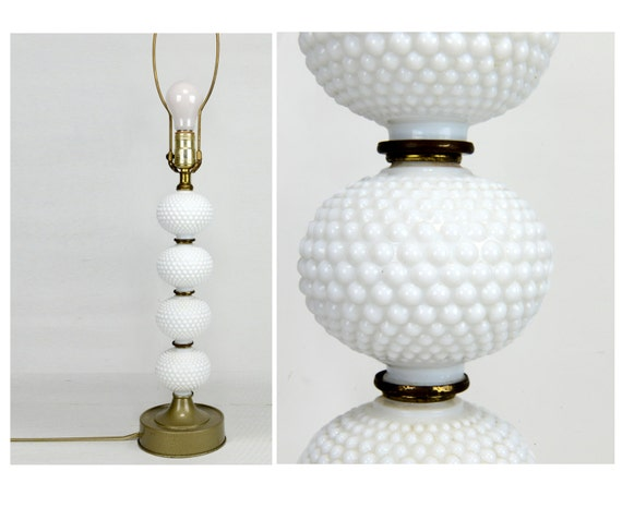 hobnail milk glass lamp stacked globes 31 brass