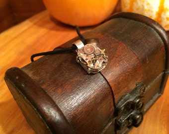 Steampunk Vintage Necklace with Rubies / Halloween Jewelry / Watch Parts Necklace October