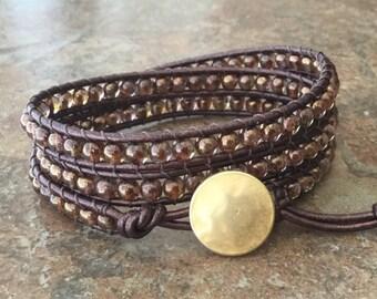 Brown Leather Wrap Bracelet Triple Wrap Bracelet Boho Chic Metallic Leather