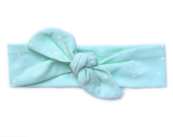 Newborn hopsital headband - Top knot baby headband - Tie headband - Baby head wrap - Top knot headband - Turban headband - Mint polka dot
