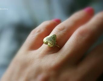 Brass Heart Locket Ring