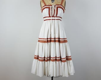 shye | vtg 1980s sun dress | vintage 80s jessica mcclintock dress | bohemian | x-small/xs