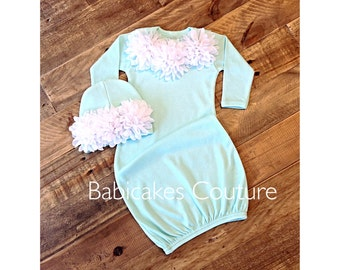 Mint Baby Gown and Beanie Set, Mint Take Home Outfit, Coming Home Outfit, Mint Newborn Girl Outfit, Newborn Mint Sleeper Gown, Tiffany Baby