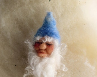 Bernard the Gnome with Blue Cap. Needle-felted Finger and Heart-warmer Finger Puppet Gnome by Castle of Costa Mesa