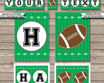 Football Party Banner - Happy Birthday Banner - Custom Banner - Party Decorations - Bunting - INSTANT DOWNLOAD with EDITABLE text
