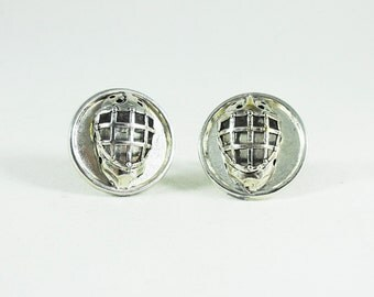 Mens Silver Cufflinks,  Hockey Goalie Mask Mens Accessories  Handmade (Silver Framed)