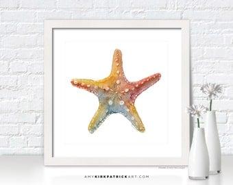 STARFISH SHELL Watercolor Art, Shell Print, Shell Greeting Cards, Original Painting, Beach Wall Decor, Beach Wall Art, Sea Star Shell
