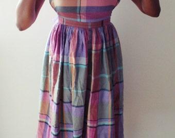 Vintage Ralph Lauren Strapless Plaid Midi Summer Dress sz. 6