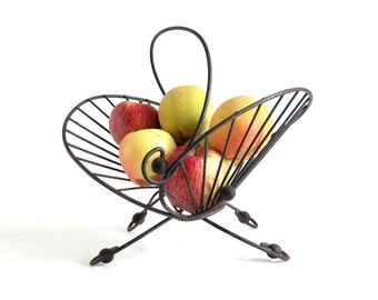 Midcentury Fruit Basket Sculptural Wire Basket Mid Century Kitchen Decor Black (as-is)
