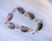 Swirly Purple Charoite Chain Link Bracelet
