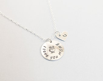 Love you more necklace sterling silver engraved necklace personalized love necklace custom heart necklace with initials owl necklace