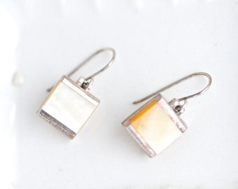 Mother of Pearl Squares - Sterling Silver Dangle Earrings