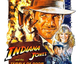 """Indiana Jones and the Temple of Doom - Home Theater Media Room Decor - 13""""x19"""" or 24""""x36"""" - Movie Poster Print - Harrison Ford -Kate Capshaw"""