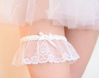 White lace bridal garter, French lace and silk