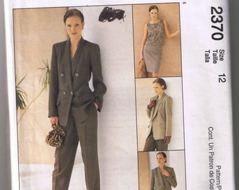 McCall's 2370 Misses Lined Jacket, Top, Skirt, and Pants - Size 12 - NON-STOP Wardrobe - UNCUT