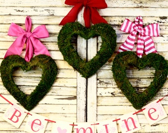 Moss Heart Wreath -Valentine Wreath- Choose Bow -Valentine Gift