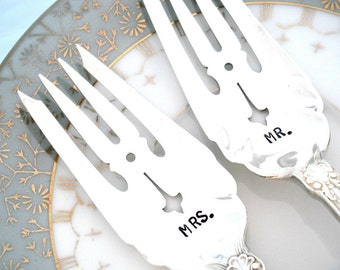Wedding Forks - MR and MRS forks - Ornate Wedding Forks - Sheffield 1917