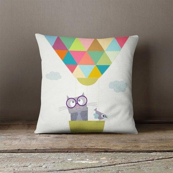 Animal Pillows For Nursery : Hot air balloon with animal kids throw pillow, nursery throw pillow, decorative pillows ...