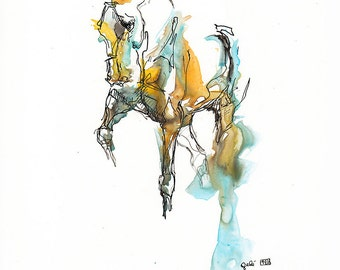 Original Watercolor, Ink and Pen Drawing of a Horse in Motion, Modern Art, Expressive Animal Art, Dressage Horse