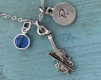Cello Charm Necklace, Personalized Necklace, Silver Pewter Cello Charm, Custom Necklace, Musical Jewelry, Classical Music Gift