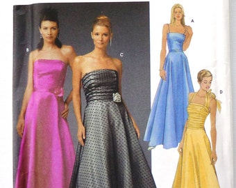 Simplicity 5238 sewing pattern, sizes 8-14, UNCUT, evening wear, formal, wedding, prom, cocktail, gown, dance, full skirt, strapless, halter
