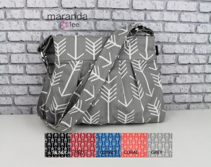 Stella Diaper Bag Medium Purse  - Arrows CUSTOM Color - 6 pockets Adjustable Strap - Attach to Stroller Custom Made to Order