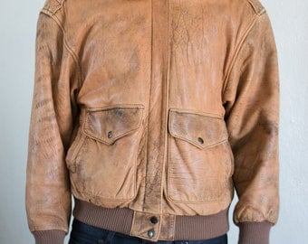 brown leather bomber jacket - M
