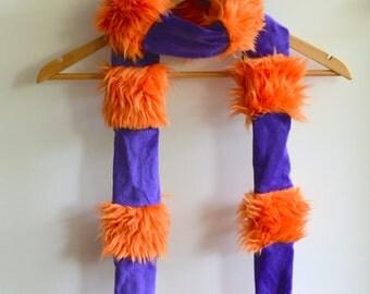 Faux Fur Scarf - Orange and Purple - Choose colors