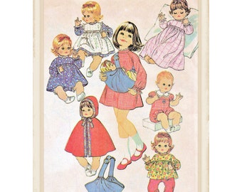 Instant Download PDF Full Size Printable Sewing Pattern to make Dolls Clothes & Carrier for 14 to 16 inch Baby Dolls 9 Items Dress Romper