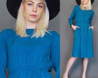 vintage 80s turquoise silk dress // secretary // boho dress // striped