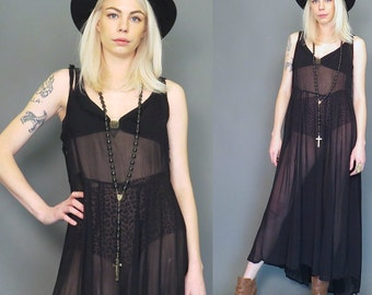 black goth 90s sheer raw and ripped oversized slip dress // boho // hippie // maxi dress // grunge revival