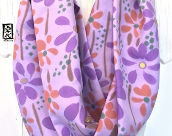 Hand painted Silk Scarf, Christmas Gift, ETSY, Purple Infinity Scarf, Circle scarf, Summer Scarf, Purple Wildflowers, 7x72 inches Loop