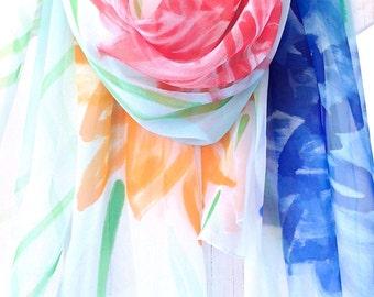 Beach Sarong, Handpainted Silk Scarf, Sarong Scarf, Blue Sarong, pareo, Summer Scarf, Oversized Scarf, Red and Orange Garbera Daisy,