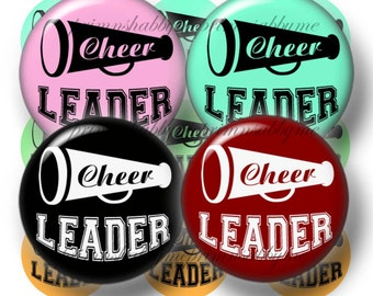 Cheer Leader, Bottle Cap Images, 1 Inch Circles, Digital Collage Sheet, Instant Download (No.1)  Cheerleader, Pendants, Bows, Jewelry, Craft