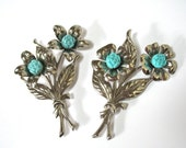 RESERVED for ANU....Two Celluloid Floral Brooches, 1940's, Large Silver Flower Brooch, Pin Set, Celluloid Rosebud, Gift Idea, Excellent
