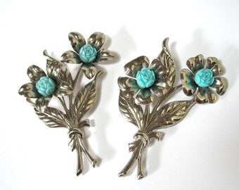 Two 1940's Celluloid Floral Brooches, Large Silver Flowers, brooch set, pin set, Excellent