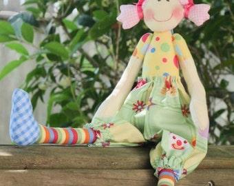Cloth doll softie plush doll, stuffed doll cute rag doll for little girls handmade doll baby shower and nursery decor gift