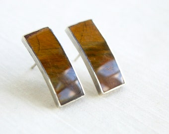 Tigers Eye Earrings Vintage Mexican Sterling Silver Posts Amber Rectangles Geometric Minimalist Jewelry